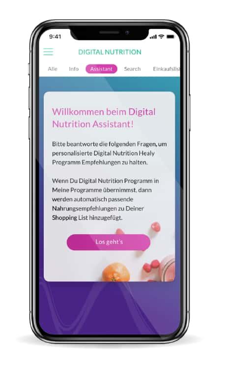 Healy App Assistent für digitale Ernährung