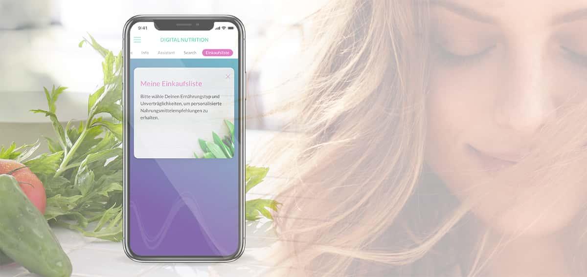 Die Healy App erstellt Deine Einkaufsliste anhand Deiner Eingaben im Assistenten