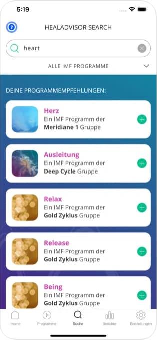 Healy HealAdvisor App Suche - Deine Programmempfehlungen